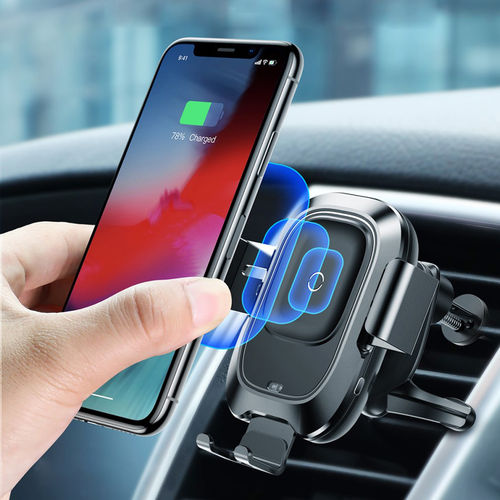 Baseus (10W) Fast Wireless Charger / Air Vent Car Mount / Auto Clamp IR Sensor